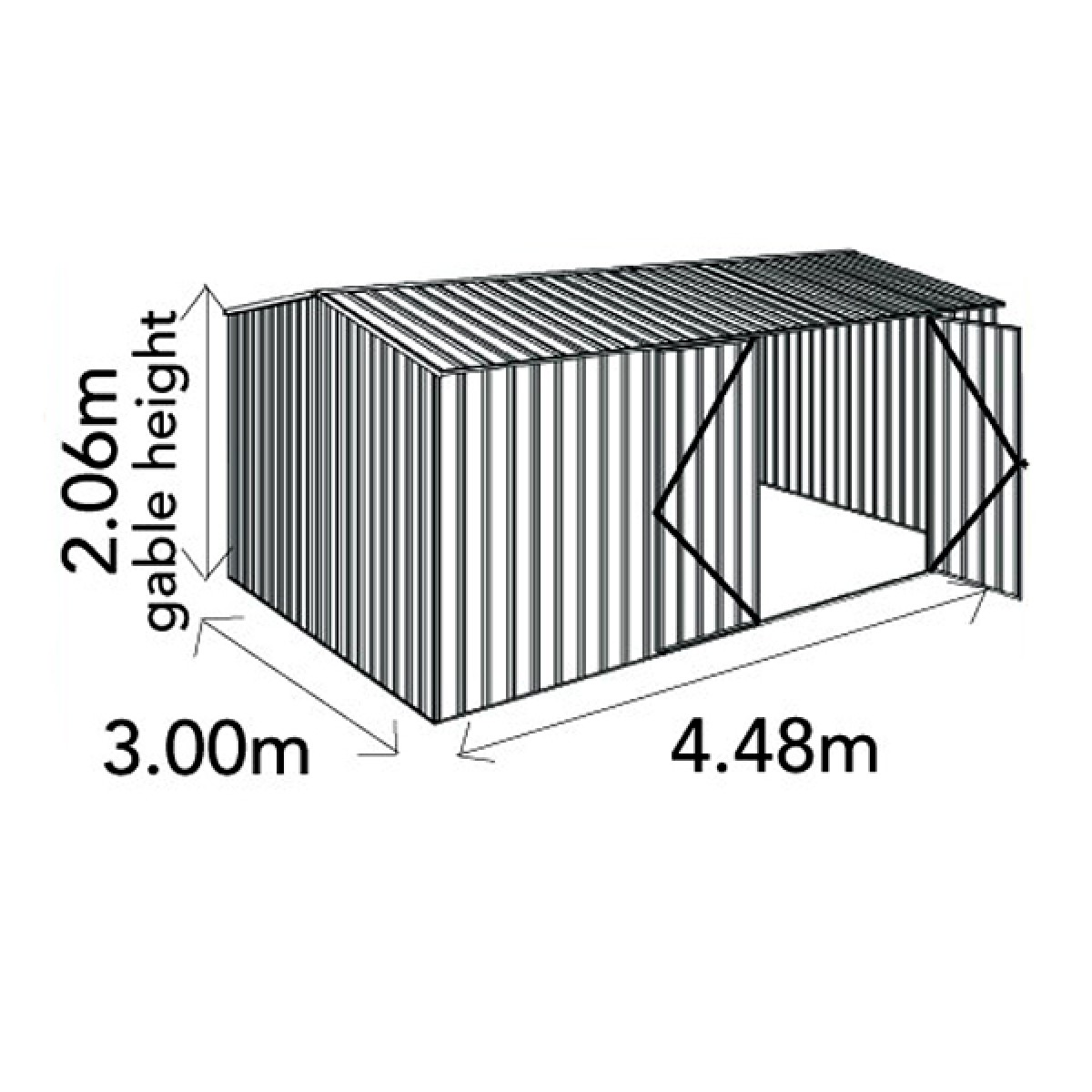 Absco Workshop Garden Shed 4 48mw X 3md X 2 06mh