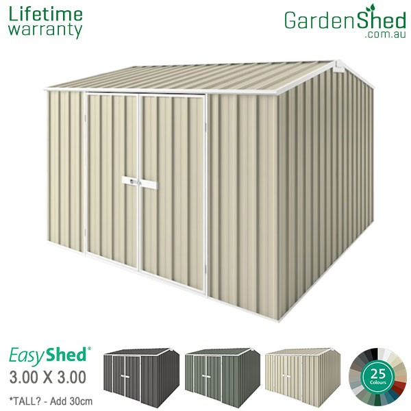 EasyShed Garden Shed 3.00m x 3.00m - Smooth Cream