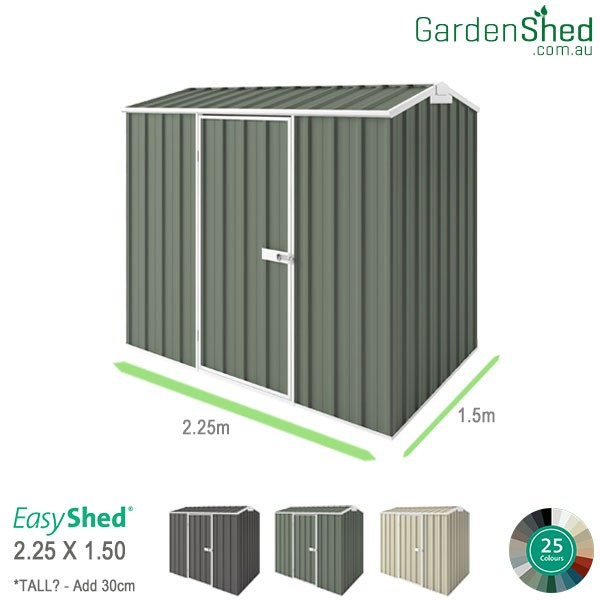 EasyShed Garden Shed 2.25 x 1.50m - Pale Eucalypt