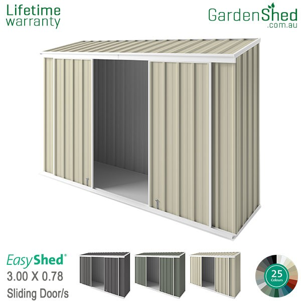 EasyShed 3.00x0.78 Garden Shed - EziSlider - Smooth Cream