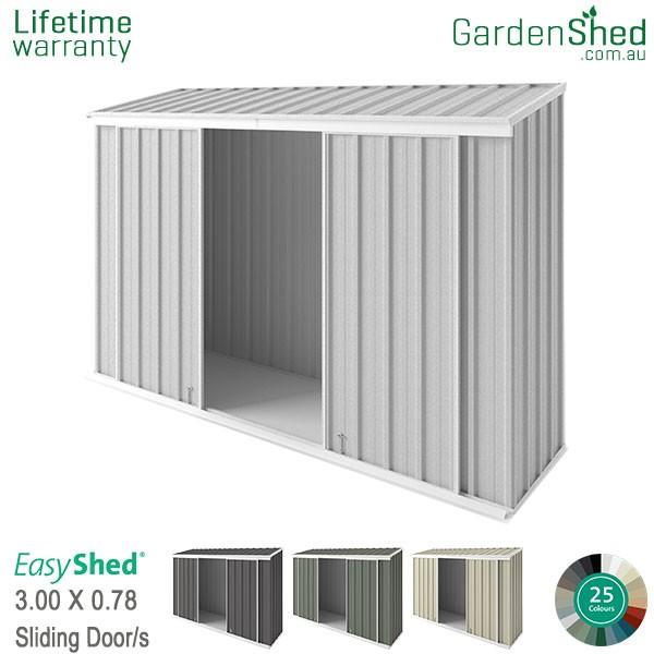 EasyShed 3.00x0.78 Garden Shed - EziSlider - Woodland-Grey / Slate Grey - Zinc