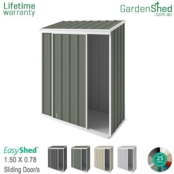 EasyShed 1.50x0.78 Garden Shed - EziSlider - Pale Eucalypt / Mist Green