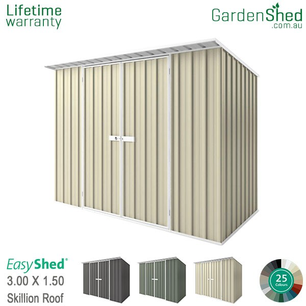 EasyShed 3.00x1.50 Garden Shed - Skillion - Smooth Cream