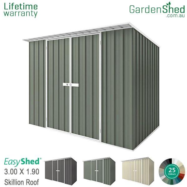 EasyShed 3.00x1.90 Garden Shed - Skillion - Pale Eucalypt / Mist Green