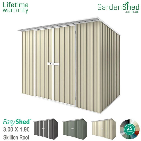 EasyShed 3.00x1.90 Garden Shed - Skillion - Smooth Cream