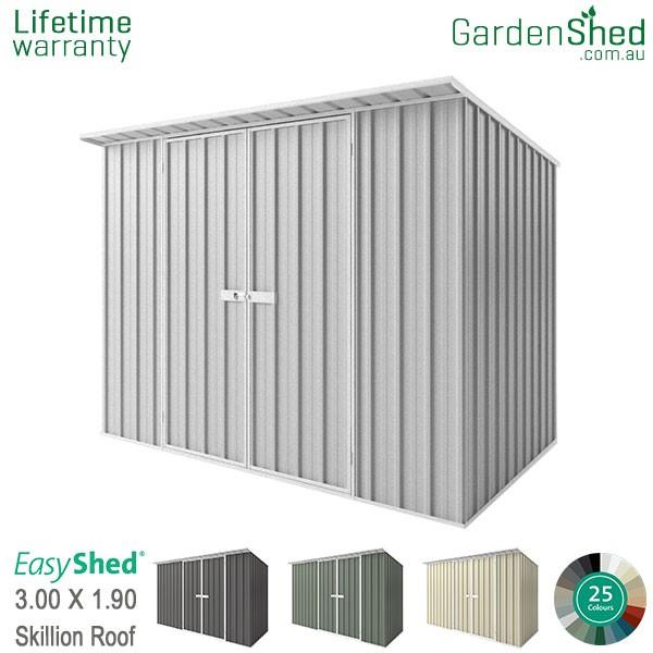 EasyShed 3.00x1.90 Garden Shed - Skillion - Woodland-Grey / Slate Grey - Zinc