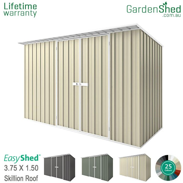 EasyShed 3.75x1.50 Garden Shed - Skillion - Smooth Cream