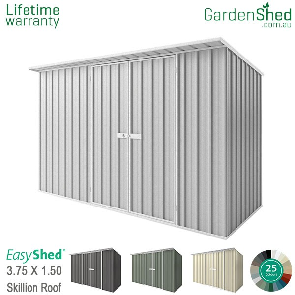 EasyShed 3.75x1.50 Garden Shed - Skillion - Woodland-Grey / Slate Grey - Zinc