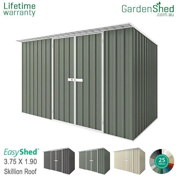 EasyShed 3.75x1.90 Garden Shed - Skillion - Pale Eucalypt / Mist Green
