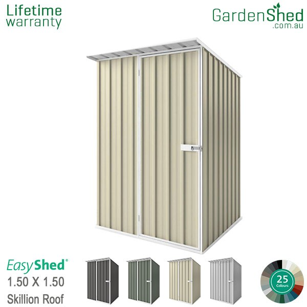 EasyShed 1.50x1.50 Garden Shed - Skillion - Smooth Cream