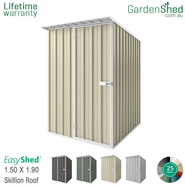 EasyShed 1.50x1.90 Garden Shed - Skillion - Smooth Cream