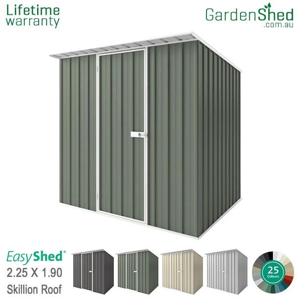 EasyShed 2.26x1.90 Garden Shed - Skillion - Pale Eucalypt / Mist Green