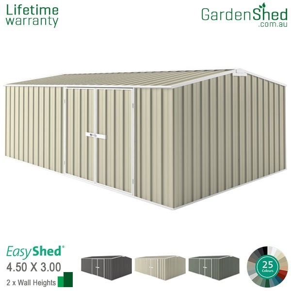 EasyShed Garden Shed 4.5m x 3.00m - Smooth Cream