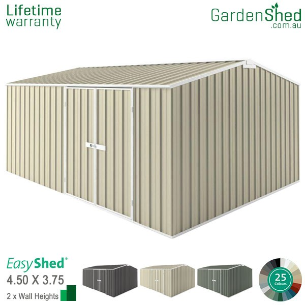EasyShed 4.5x3.75 Garden Shed - Workshop - Smooth Cream
