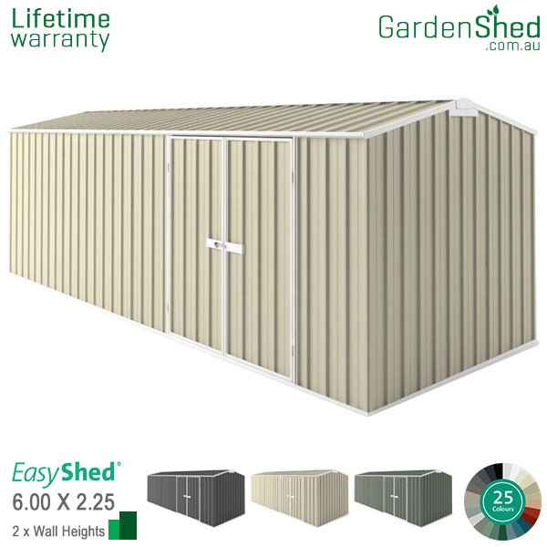 EasyShed Garden Shed 6.00m x 2.26m - Smooth Cream
