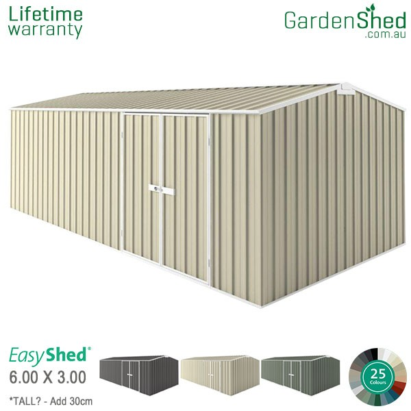 EasyShed Garden Shed 6.00m x 3.00m - Smooth Cream