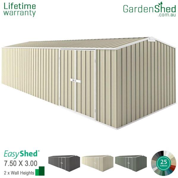 EasyShed 7.50x3.00 Garden Shed - Workshop - Smooth Cream