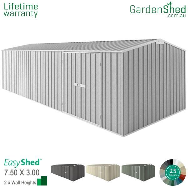 EasyShed 7.50x3.00 Garden Shed - Workshop - Woodland-Grey / Slate Grey - Zinc