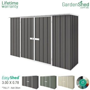 EasyShed Garden Shed3.00m x 0.78mFlat (slight angle)