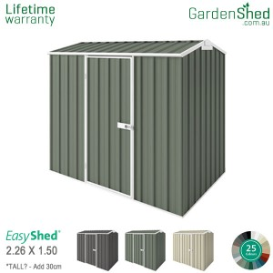 EasyShed Garden Shed 2.25 x 1.50m - Pale Eucalypt / Mist Green