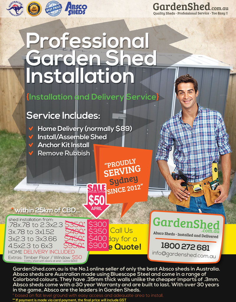 Garden Sheds Installed garden shed installation - sydney, nsw