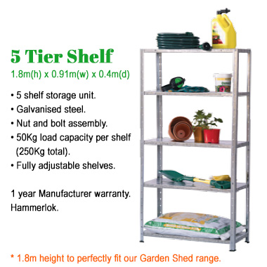 Garden Shed 5 tier Shelves
