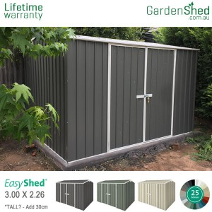 EasyShed Garden Shed 3x2.26 double door - Woodland grey